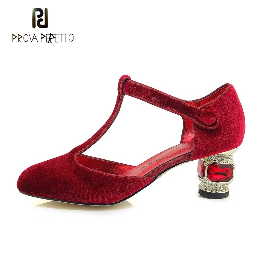 Prova perfetto T hebilla Correa tacón estilo extraño mujeres bombas punta redonda joya de cristal tacones altos señoras vestido fiesta boda zapatos