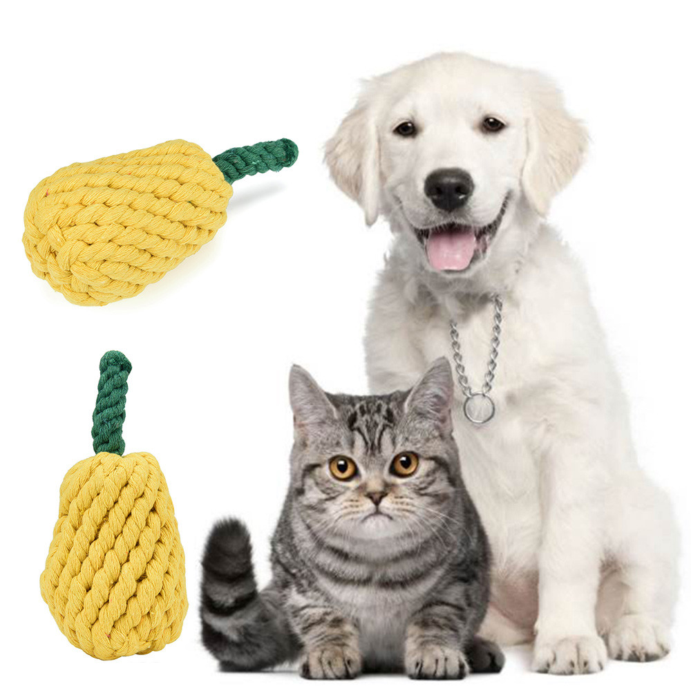 small dog pet toys cut Pear Fruit shape Braided Animal Pet Chew interactive Toy Puppy Dog Clean Teeth Training Tool 2017
