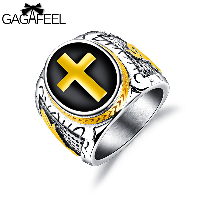 GAGAFEREL Cross Ring Mens Ring Personalized Retro Titanium Steel Finger Ring For Men Punk Vintage Domineering Rings Jewelry
