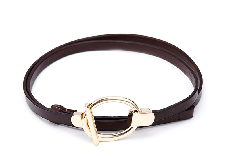 Elegant Genuine Leather Belt Women First Layer Of Cowhide Strap Female Fashion Round Buckle Leather Dress Thin Belts For Women