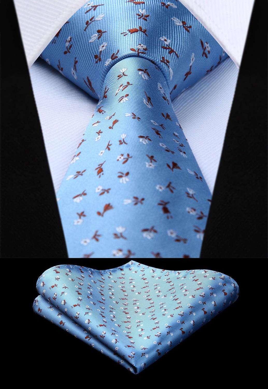 Woven Men Tie Blue Flower  Necktie Handkerchief Set#TF612B8S Party Wedding Classic Pocket Square Tie