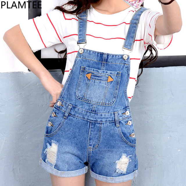 e171b2ced77 PLAMTEE Big Pocket Overalls Women Cuffs Hole Denim Jumpsuit Ripped Jeans  Plus Size Short Rompers Strap Sleveless Playsuit 2017