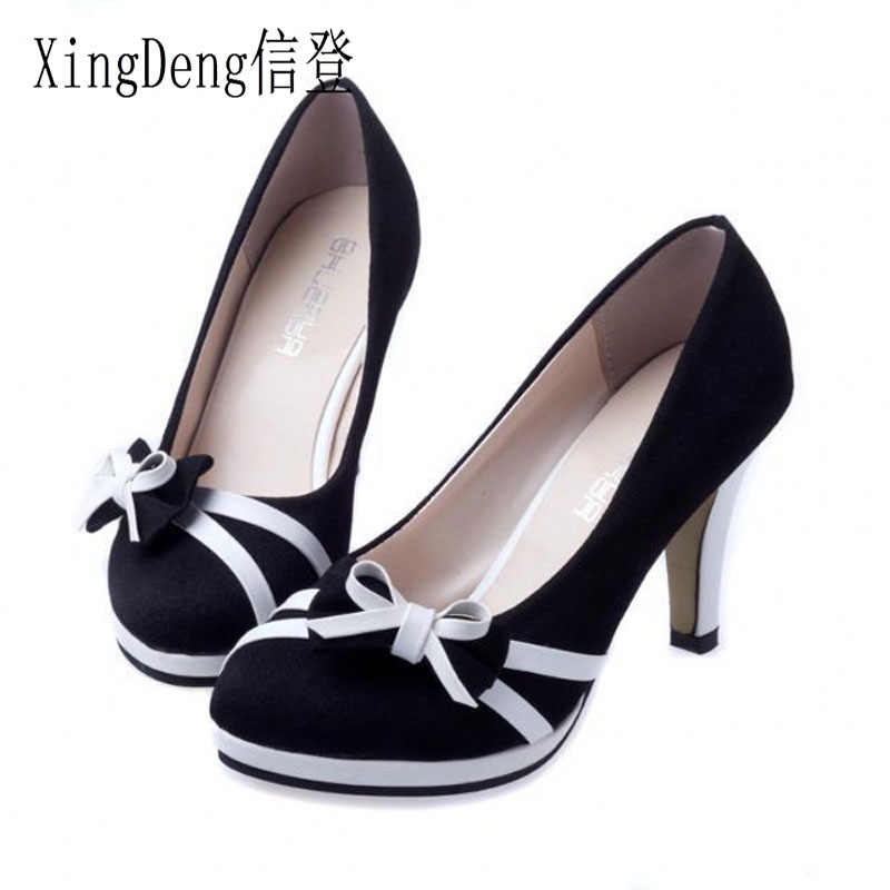XingDeng Ladies High Heels Round Toe Women Pumps Bowtie Women Shoes Flock  Women European Office Ladies 3c3f24a195fe