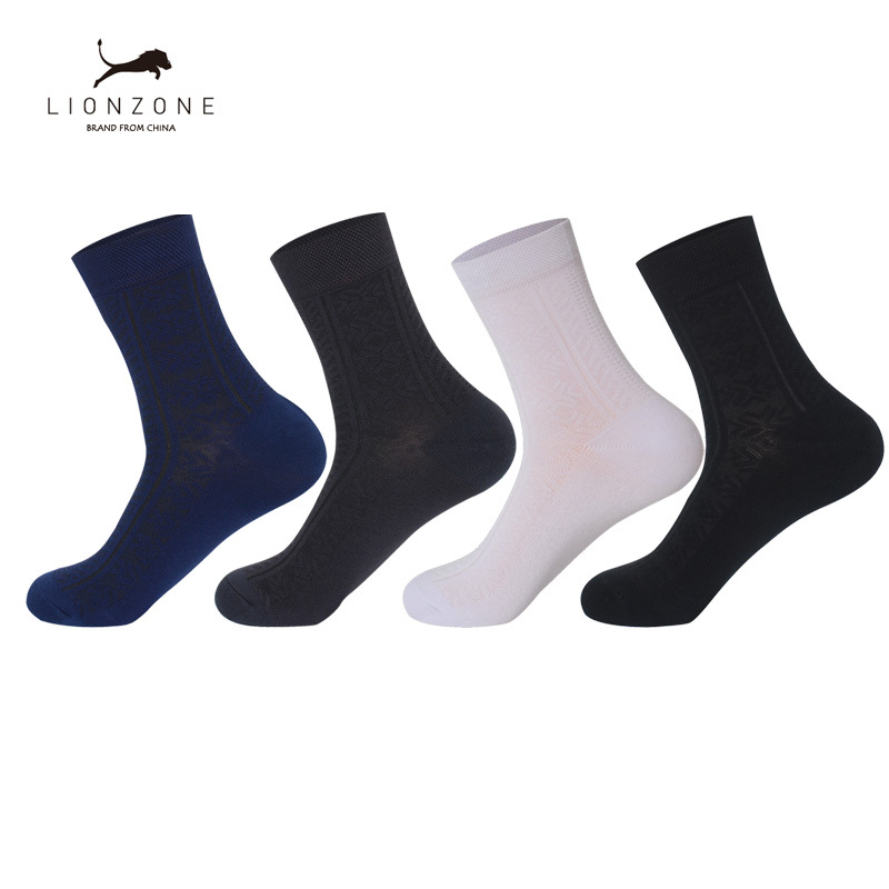 Business Men Dress Socks With Classics Decorative Design 4Colors Anti-Bacterial Breathable Warm Crew Gentleman Bamboo Socks ...