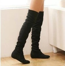 Tamaño 34-43 Mujeres Botas de Invierno Otoño Botas de Fondo Plano de La Moda zapatos botas Sobre La Rodilla de Gamuza de Alta Pierna Botas Largas de la Marca diseñador