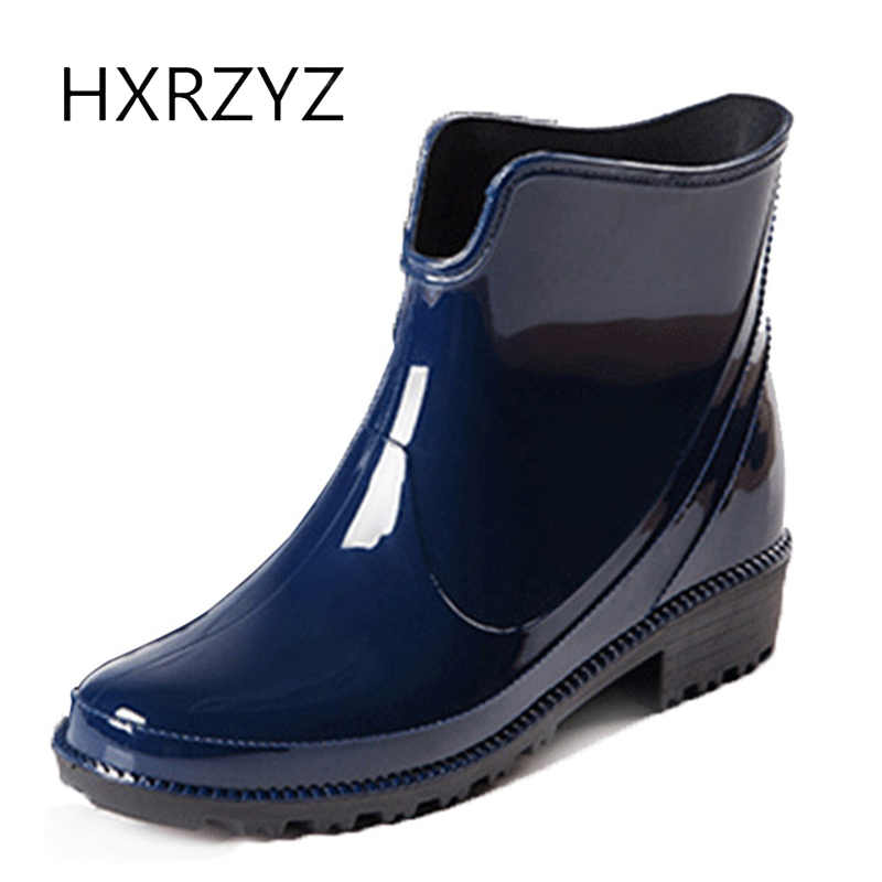 HXRZYZ women rain boots ladies black rubber ankle boots spring and autumn new fashion PVC Slip-Resistant waterproof shoes women large size spring autumn fashion shoes women rain boots female elastic band slip resistant ankle boots waterproof rubber boots