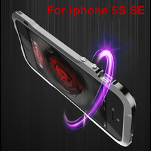 For iPhone 5s se Luphie brand Metal phone Bumper Case for iPhone 5 SE Aluminum Bumper Frame and Leather Back Cover