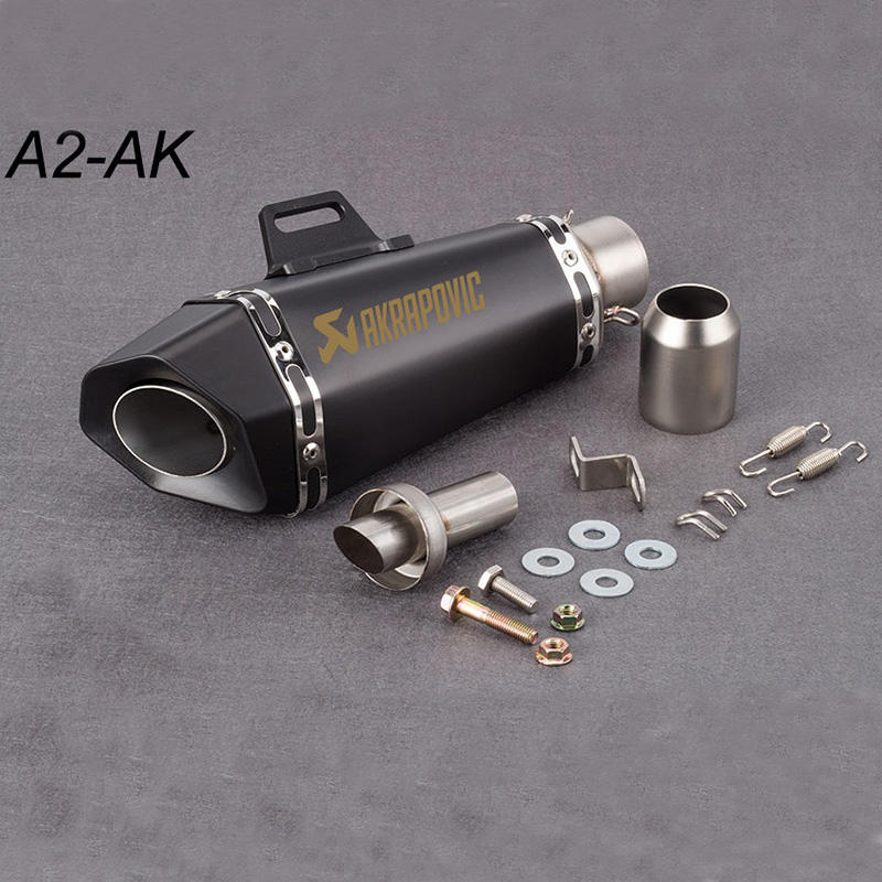 51mm Motorcycle Exhaust Pipe Muffler Akrapovic Small Hexagon Exhaust With DB Killer For Z900 MT09 KTM390 CBR R6 FZ8 R25