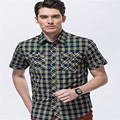 Wildgeeker Mens Shirt Plaid Social 2017 Wild New Short Sleeve Red Black 100% Fabric Cotton Leisure Style Jeep Summer Men Shirts