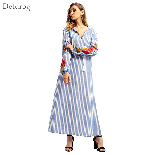 a58a8dedf2 Women Casual Long Muslim Dress Striped Cotton Middle East Abaya Loose  Floral Embroidery Dresses Robe Kaftan Arab Dubai Dr398