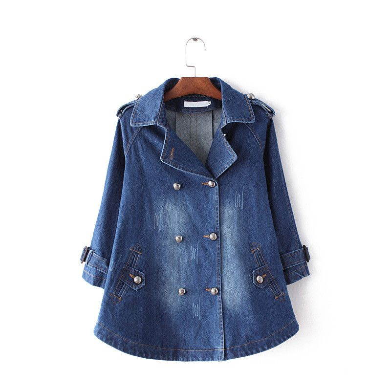 Winter Plus Size Denim Cape Basic Jacket Women Outwear 3/4 Sleeve Turn-down Collar Double Breasted Jeans Coat Chaquetas Mujer 02