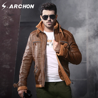 S ARCHON Winter Thicken Military PU Leather Jackets Men Stand Collar Fleece Tactical Jacket Male Army
