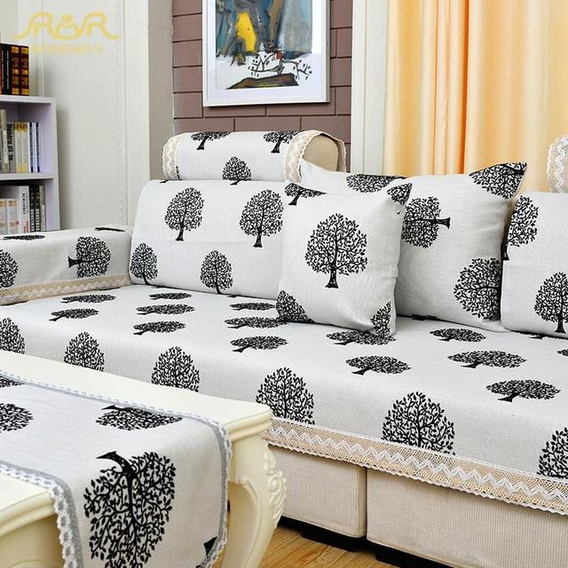 Romorus High Quality Modern Linen Sofa Cover Black And White Slipcover Sectional Couch Covers