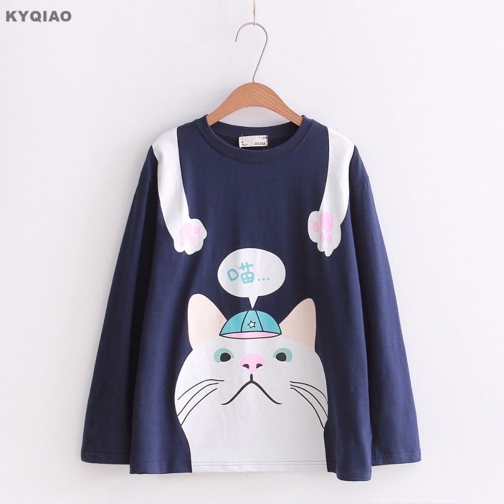 KYQIAO Women cute pullover female autumn Japanese style cute cartoon long sleeve blue white pink cat pattern t shirt tee top