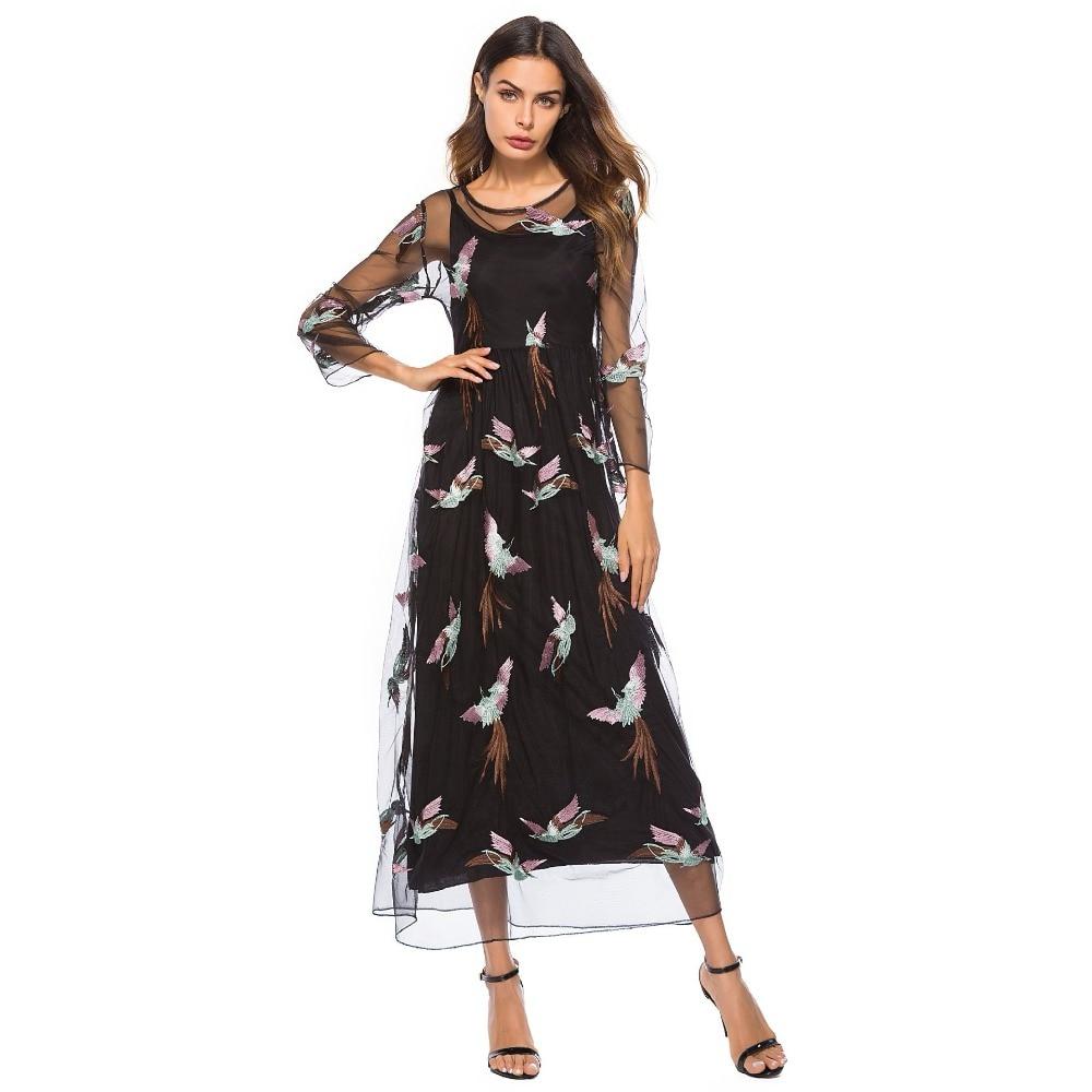 Luxury Bohemian Dress 2019 Autumn Runway Elegant Brand Designer Bird Black Embroidery Boho Mesh Dress Women Vintage Long Dresses