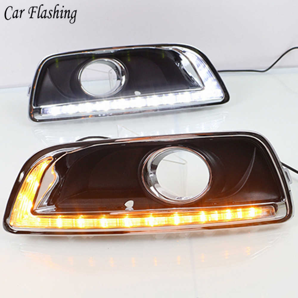 2 Pcs For Chevrolet Malibu 2012 2013 2014 2015 DRL with fog lamp hole Daytime Running