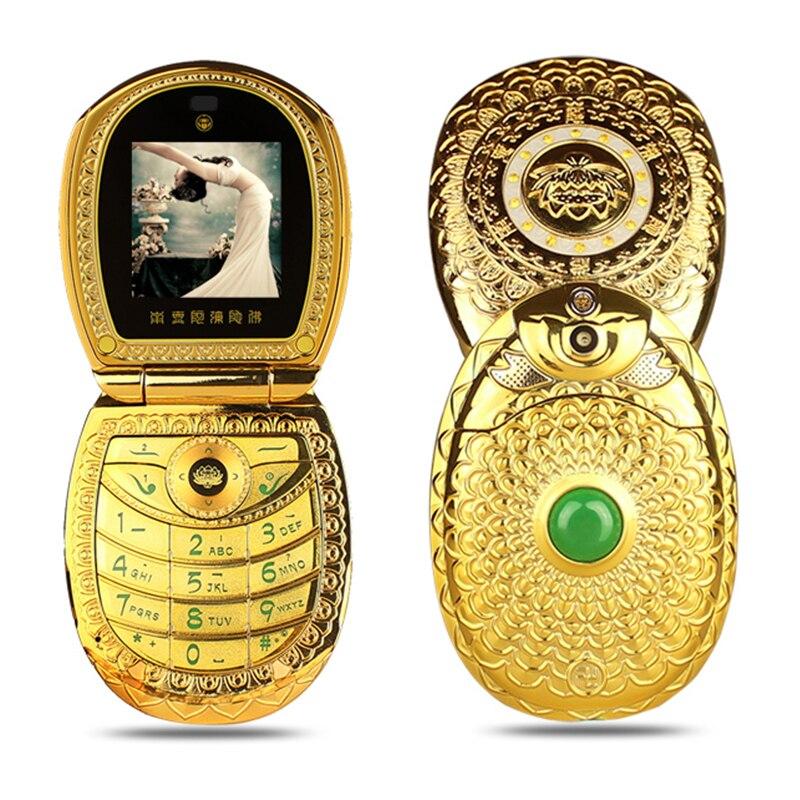 Mafam U1 Flip Russe Clavier Arabe Fleur De Lotus Jade Bouddha FM MP3 MP4 De Luxe Femmes Lady Cadeau Double Sim Mobile Téléphone Portable P512