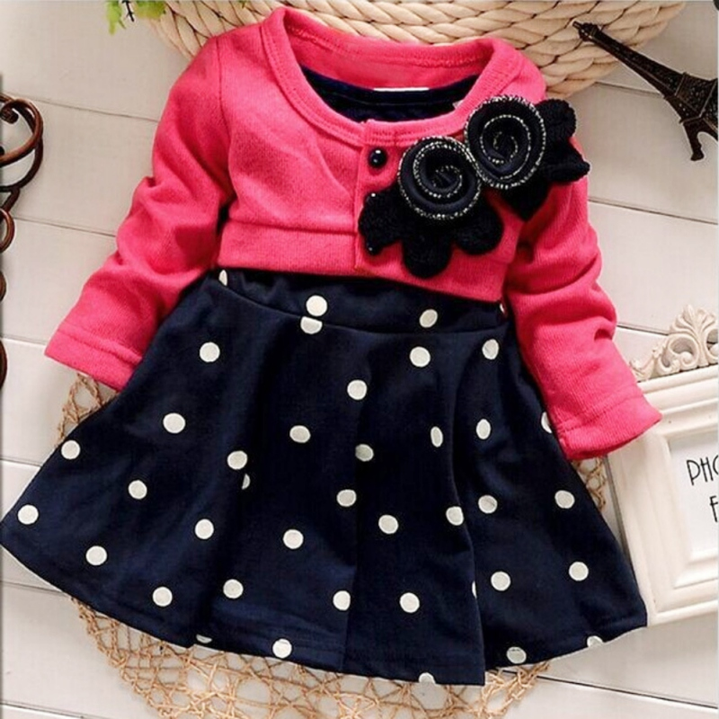 WEIXINBUY Baby Girl Toddler Party Long Sleeve Polka Dot Princess Tutu Bow Dress WInter Autumn Clothing new fashion autumn winter girl dress polka dot