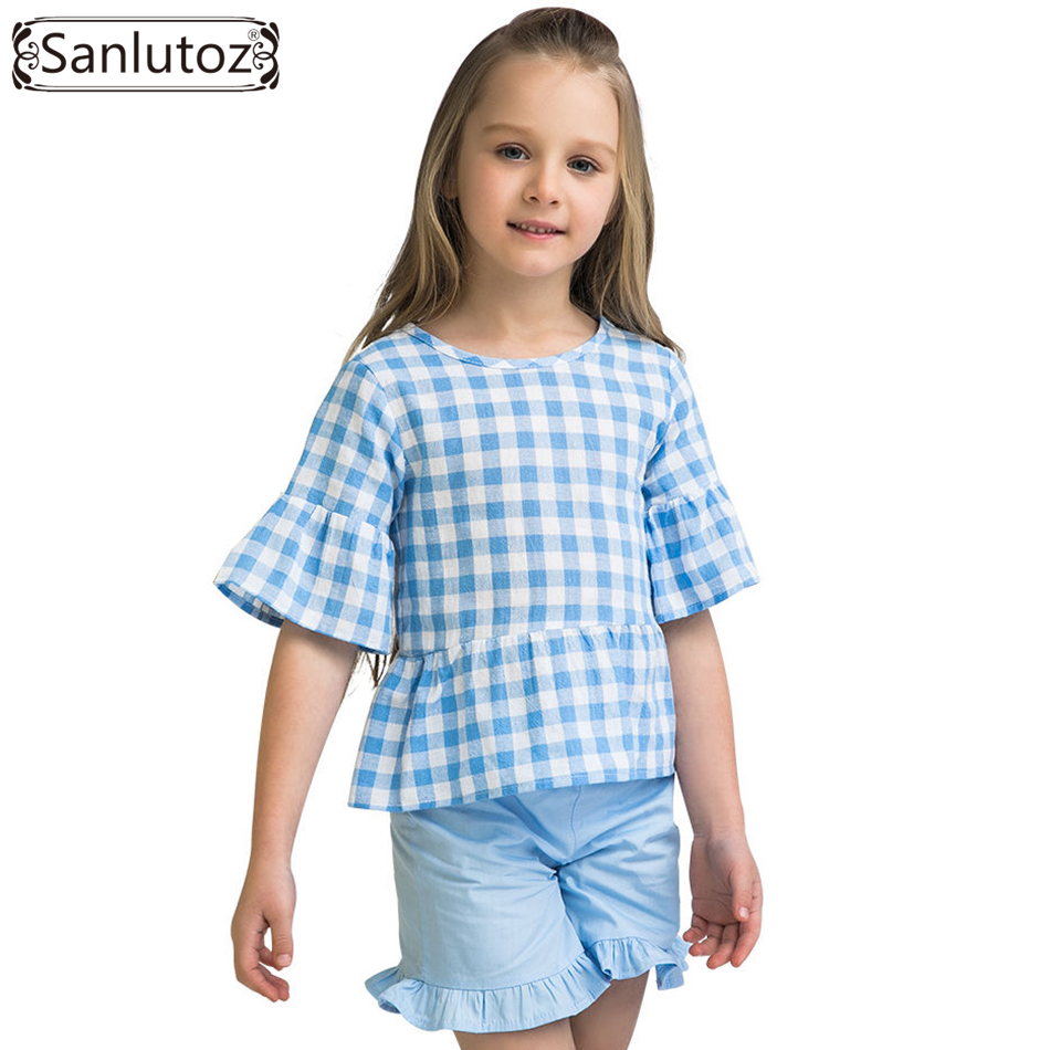 Sanlutoz Summer Children Clothing Sets Cotton Grid Fashion Girl Clothes Sports Kids Clothes Brand Toddler ( T-Shirt + Shorts ) fashion brand autumn children girl clothes toddler girl clothing sets cute cat long sleeve tshirt and overalls kid girl clothes
