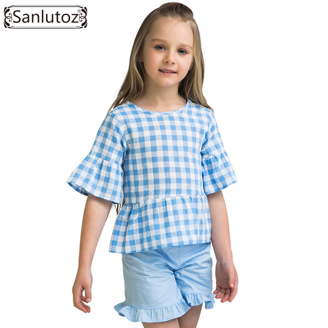Zomer Kinderkleding.Sanlutoz Zomer Kinderkleding Sets Katoen Raster Mode Meisje Kleding