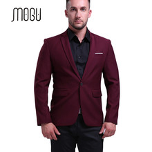 MOGU Mens Blazers New Arrivals 2017 Slim Fit Blazer Men Big Size Casual Blazer Jacket Wine Red Suit Jacket Hombre