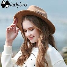 Ladybro Autumn Winter Hat Women Men Fedora Hat Classical Wide Brim Felt Floppy Cloche Cap Male Chapeau Imitation Wool Hat Female