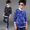2015 New Arrival 4-14T Boys Music Note Sweater Brand Design Gentle Boys Fashion Autumn Woolen Coat Boys Knitted Sweater, C130