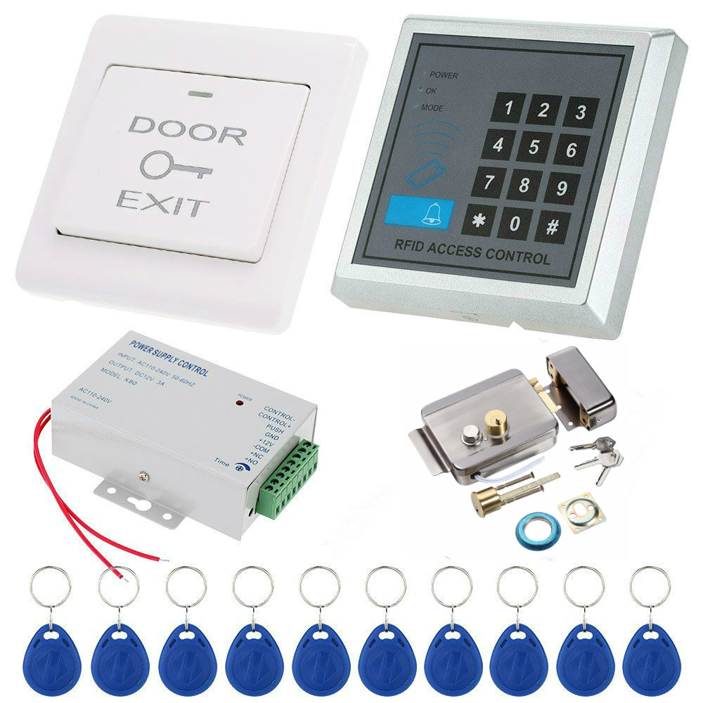 YobangSecurity Password RFID Door Access Control System With Electronic Lock Power Supply Door Entry keypad with EXIT Button