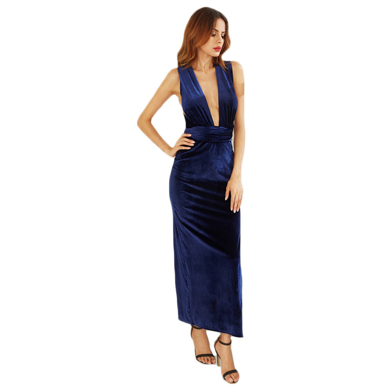 COLROVIE Womens Sexy Dresses Party Night Club Dress Elegant Dress Sexy Blue High Slit Velvet Convertible Backless Dress 5