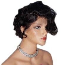 Sunnymay 13x4 короткие парики из человеческих волос предварительно выщипанные отбеленные узлы вьющиеся кружева спереди парик бразильский парик 130% боб парик с детскими волосами