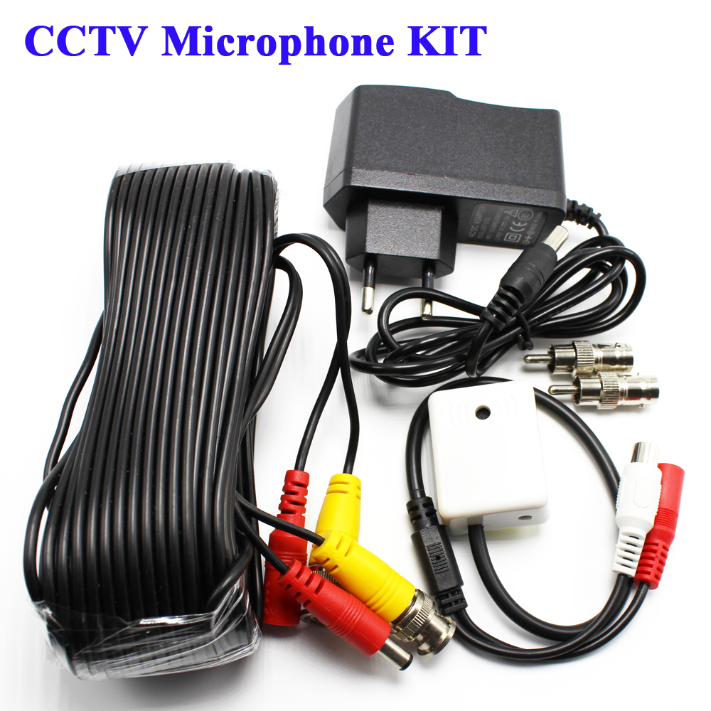 цены Mini Microphone Sound Monitor Audio Pick Up Device KIT DC 12V 2in1 Power Video Cable For CCTV For Security DVR  System