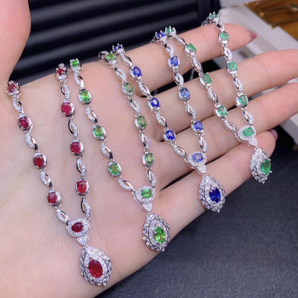 Élégant vert émeraude rouge rubis bleu saphir vert tsavorite collier de pierres précieuses femmes bijoux fins 925 argent réel cadeau naturel