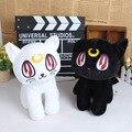 30 см каваи кошка черный белый кот сейлор мун мартовский заяц г-жа лу н . а . яти Cat плюшевые игрушки кукла аниме фигурки мультфильм