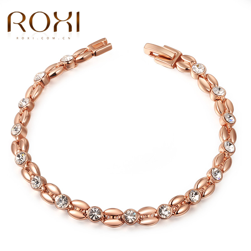 ROXI gelang & bangle untuk Wanita Kristal Austria Asli Elegan Gelang Rose Gold Warna Hand Made Fashion Jewelry pulseras