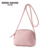 EMINI HOUSE Hand Woven Genuine Leather Shell Bag Women Crossbody Bags Fashion Shoulder Bag Luxury Lady