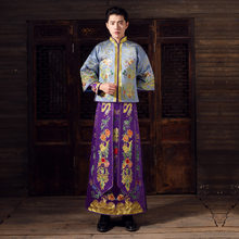Show mens chinese style wedding Gown red embroidery groom evening gown kimono jacket tang suit toast costumes pratensis clothing(China)