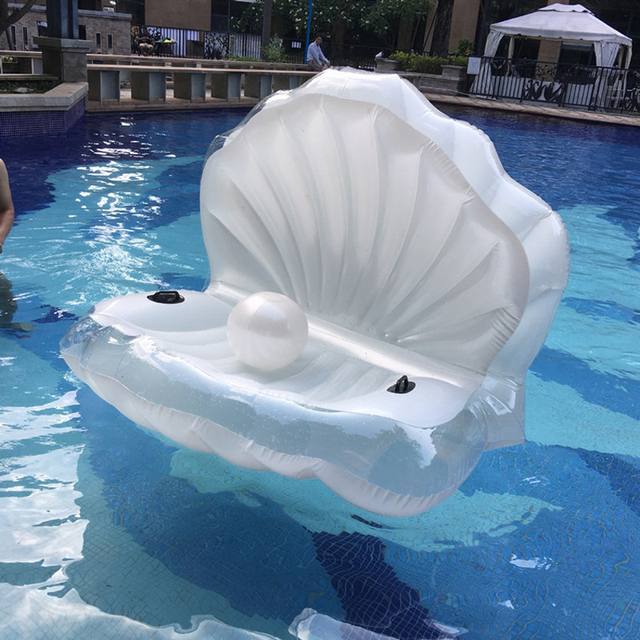 Inflatable White Seashells Floating Swimming  Air Mattress