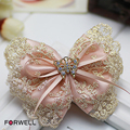 Forwell women hair accessories satin golden lace bow hairpin headdress flower butterfly rhinestone barrettes wedding decoration