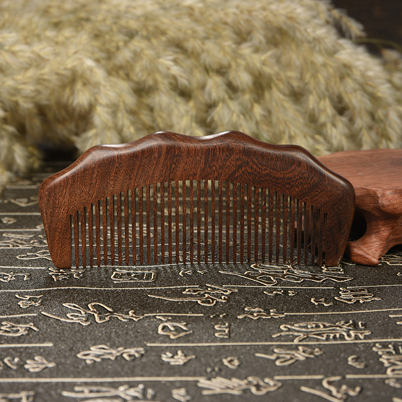 TI34 Tantric gold sandalwood comb anti-static hair loss hair comb green sandalwood combed wooden head neck mammary gland meridian lymphatic massage comb wide teeth comb