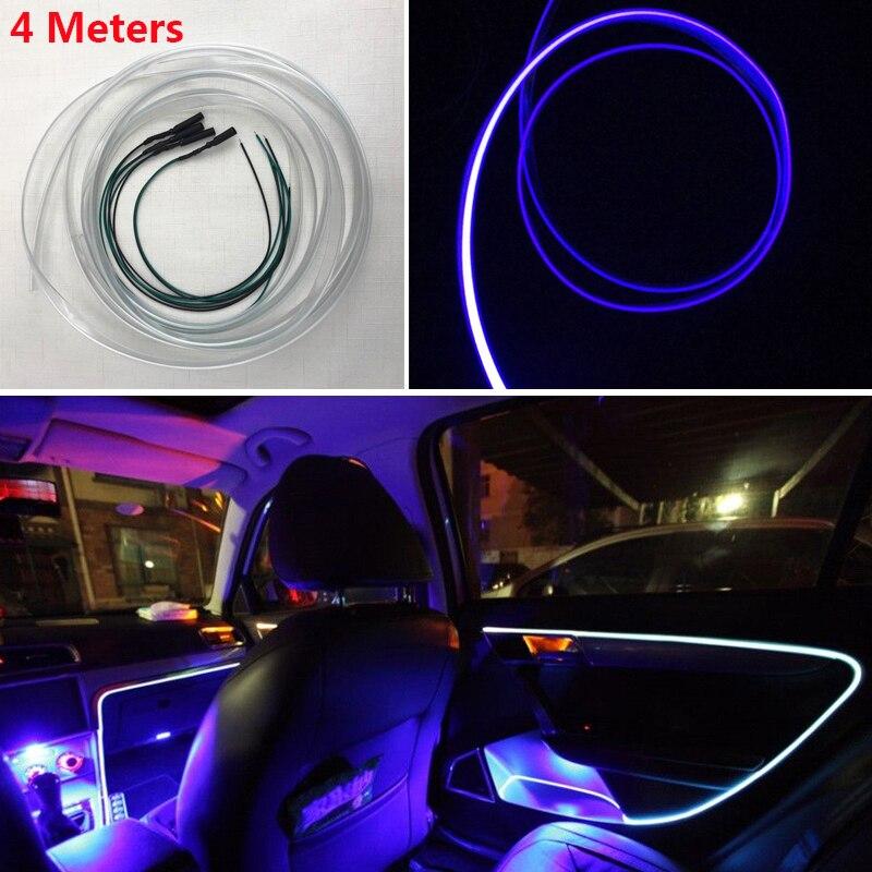 Universal 4M 12V LED Optical Fiber Light Indoor Flexible Car Interior Decorative Strip Lamp Dash Trim Moulding Blue Or Red LED