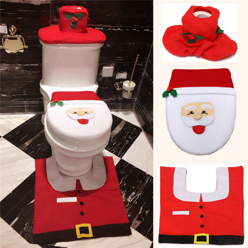 Novelty Kawaii Snowman Christmas Santa Claus Bathroom Decor Toilet Seat Cover Warm Mat Contour Rug Tank Thermal Potty BY