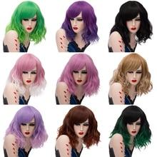 Yiyaobess 16 дюймов короткие волнистые Омбре парик с челкой синтетические волосы синий розовый зеленый фиолетовый костюм на Хэллоуин Косплей парики для женщин