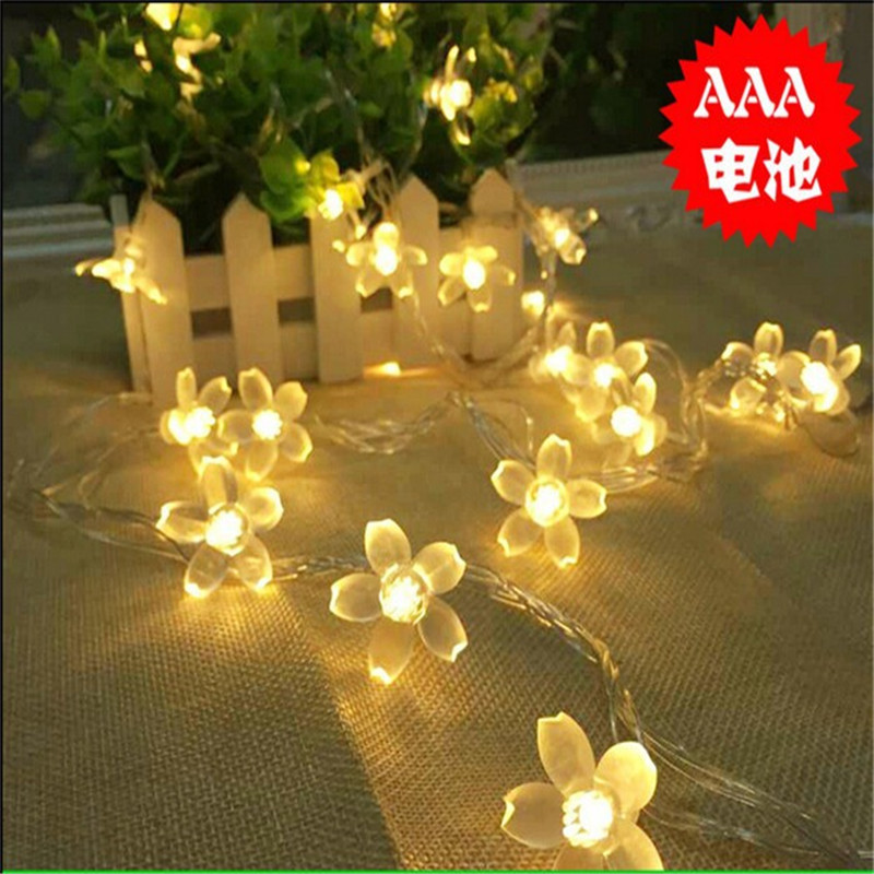 battery Operated 24.6FT 7.5M 50leds Creative Cherry Blossom LED String Light Fairy Light for Xmas New Year Valentine