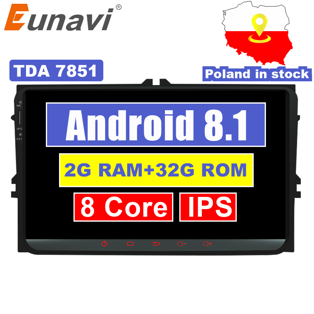 Eunavi 9'' 2 Din Android 8.1 car radio stereo player for Volkswagen VW Polo Jetta Tiguan passat b6 cc fabia gps wifi 8 core