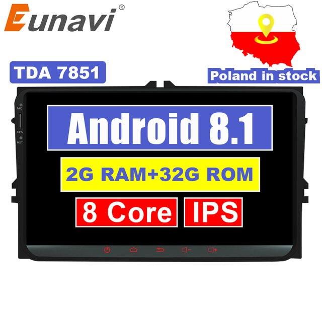 Eunavi 9'' 2 Din Android 8.1 car radio stereo player for Volkswagen VW Polo Jetta Tiguan passat b6 cc fabia gps wifi 8 core