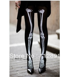 Mode féminine squelette collants. Noir os Leggings M0081