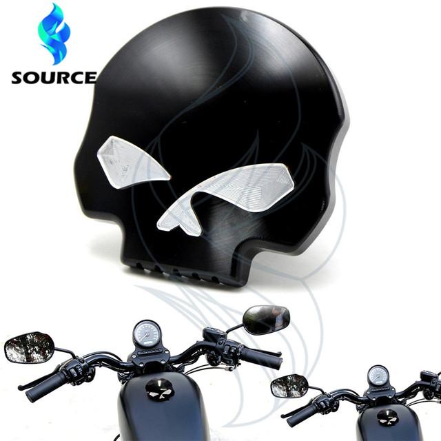 Para Harley Sportster Softail Dyna FXD FLT FL XL negro Accesorios de la motocicleta cráneo aluinum fueml gas tapa del depósito de aceite caliente venta
