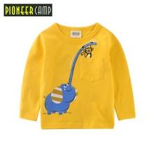 Pioneer Camp Kids 2017 Boys Cotton T Shirt Long Sleeves Autumn 100% Cotton Kids Top Tees Cartoon Children clothing