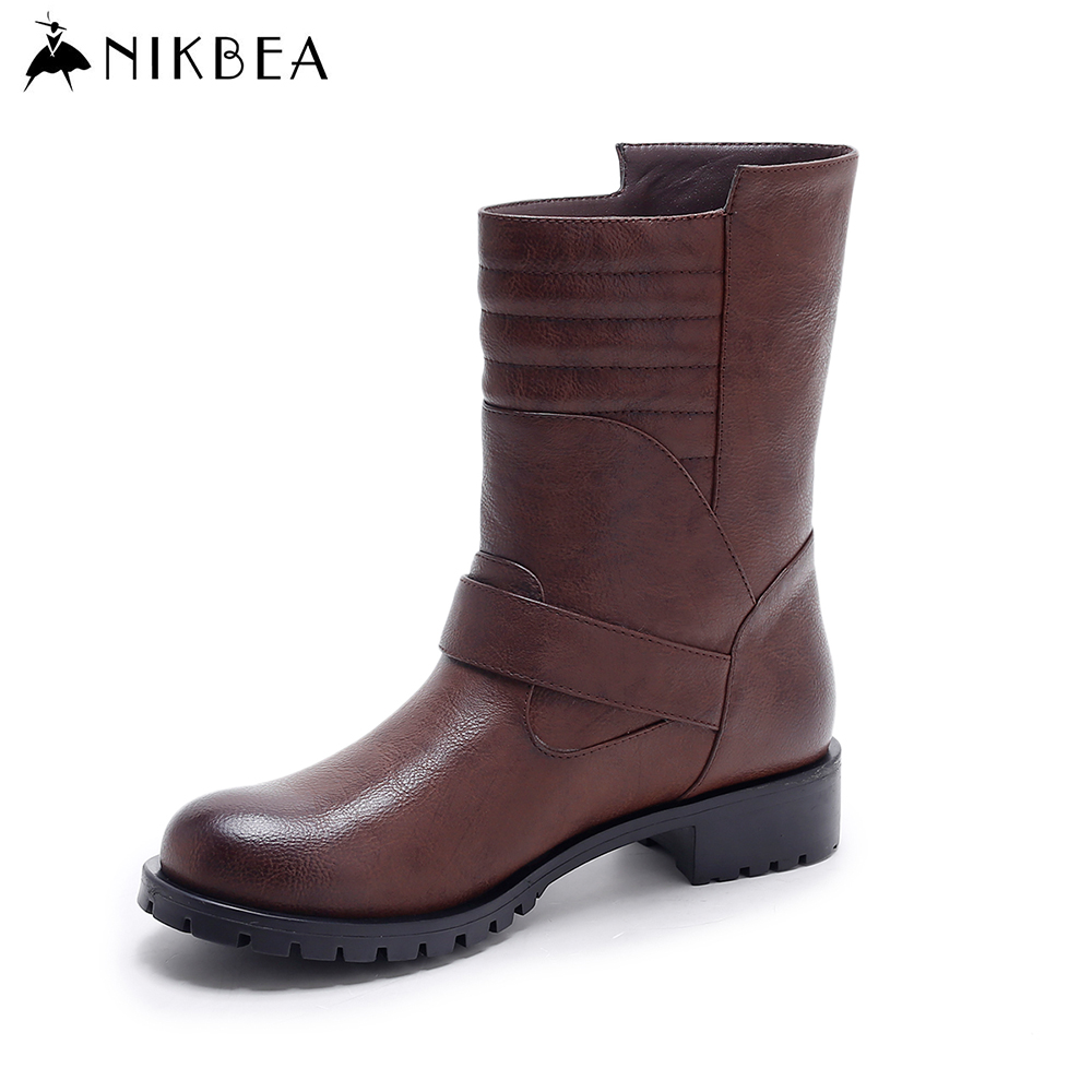 Nikbea Brown Ankle Boots for Women Flat Boots 2016 Winter Booties Autumn Shoes Ladies Pu Leather Boots Slip on Botas Feminina nikbea vintage western boots cowboy ankle boots for women pointed toe boots winter 2016 autumn shoes pu chunky low heel booties