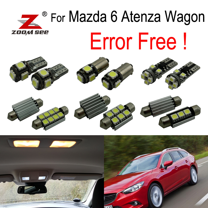 11pcs License plate + Trunk + Vanity mirror + Door LED interior dome lights bulb kit for <font><b>Mazda</b></font> <font><b>6</b></font> for Mazda6 Atenza <font><b>Wagon</b></font> 2013+ image